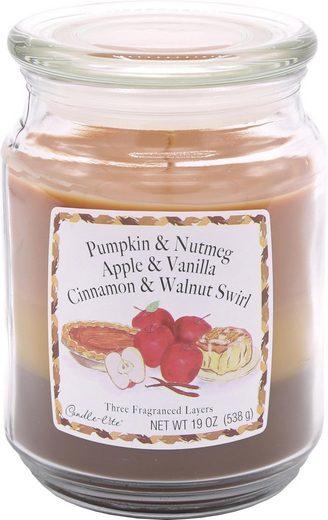 Candle-lite™ Duftkerze »Three-Layer Jars - Pumpkin & Nutmeg, Apple & Vanilla, Cinnamon & Walnut Swirl« (1-tlg)