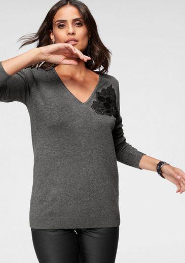 Mit ausschnitt Scott Spitzenapplikation Laura V pullover wzA88Fq