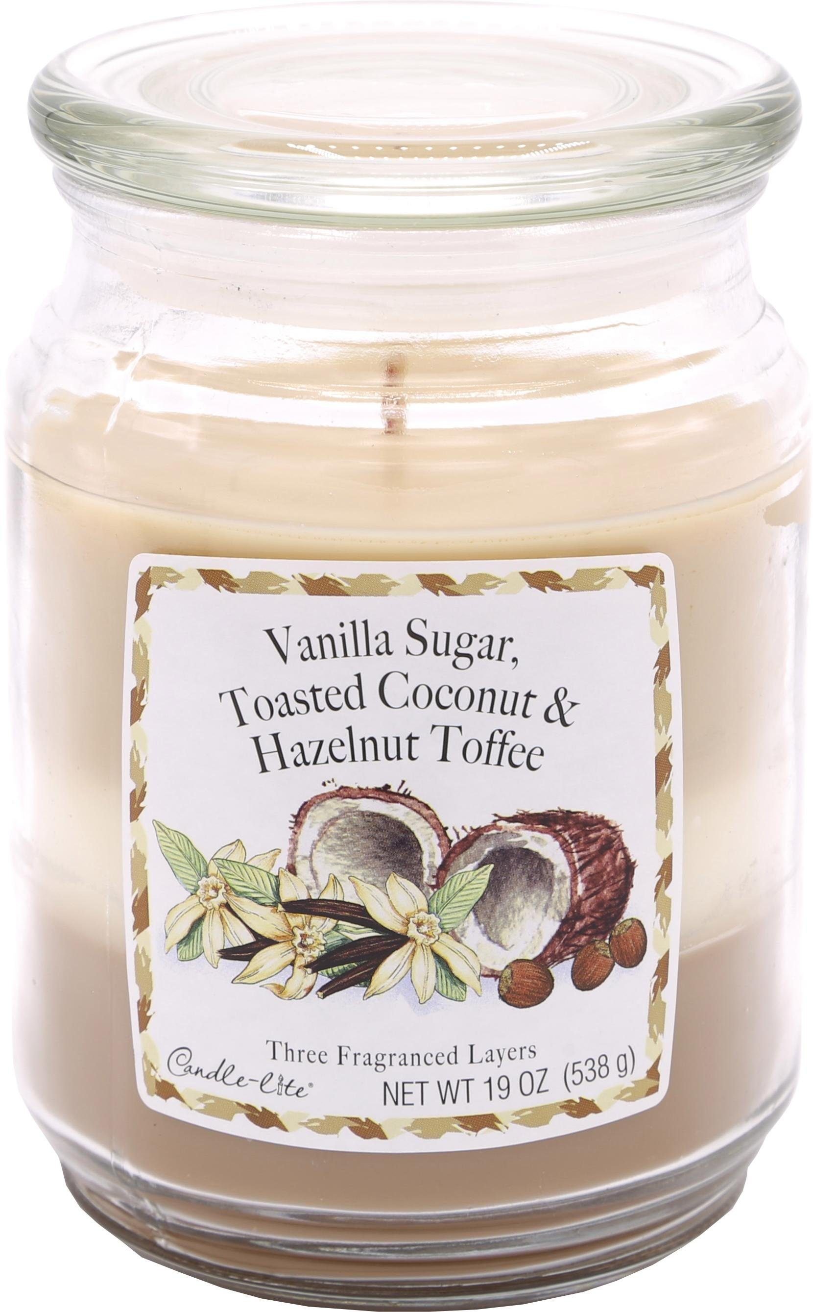 Candle-lite Duftkerze, 538 g, »Three-Layer Jars - Vanilla Sugar, Toasted Coconut, Hazelnut Toffee«