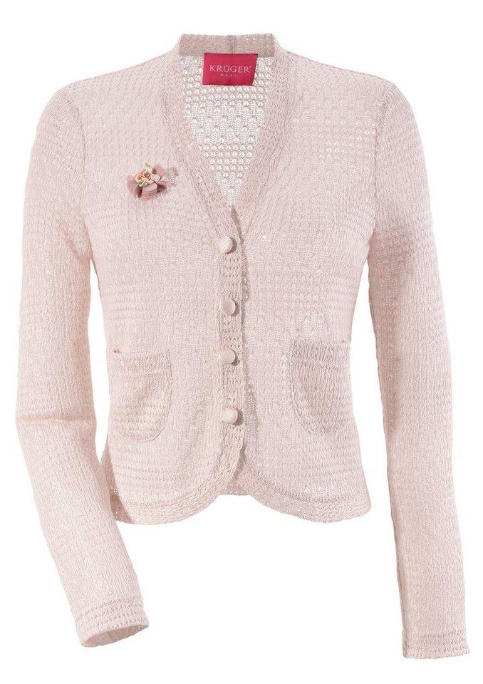 Damen Krüger Madl Trachtenstrickjacke Damen mit Blumenapplikation rosa | 04061468054932