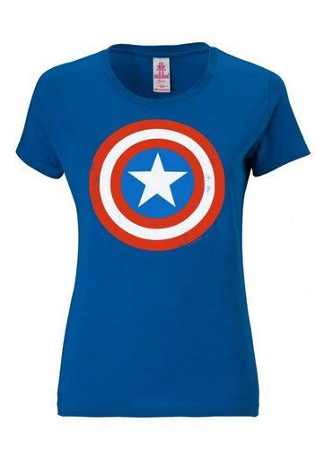 Logo shirt frontprint Logoshirt »captain Blau Captain T Kultigem America America« Mit eH2IWDYEb9