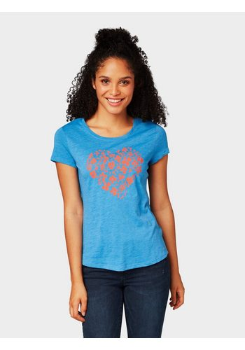 Damen Tom Tailor Denim T-Shirt T-Shirt mit Blumenprint blau | 04060868481997