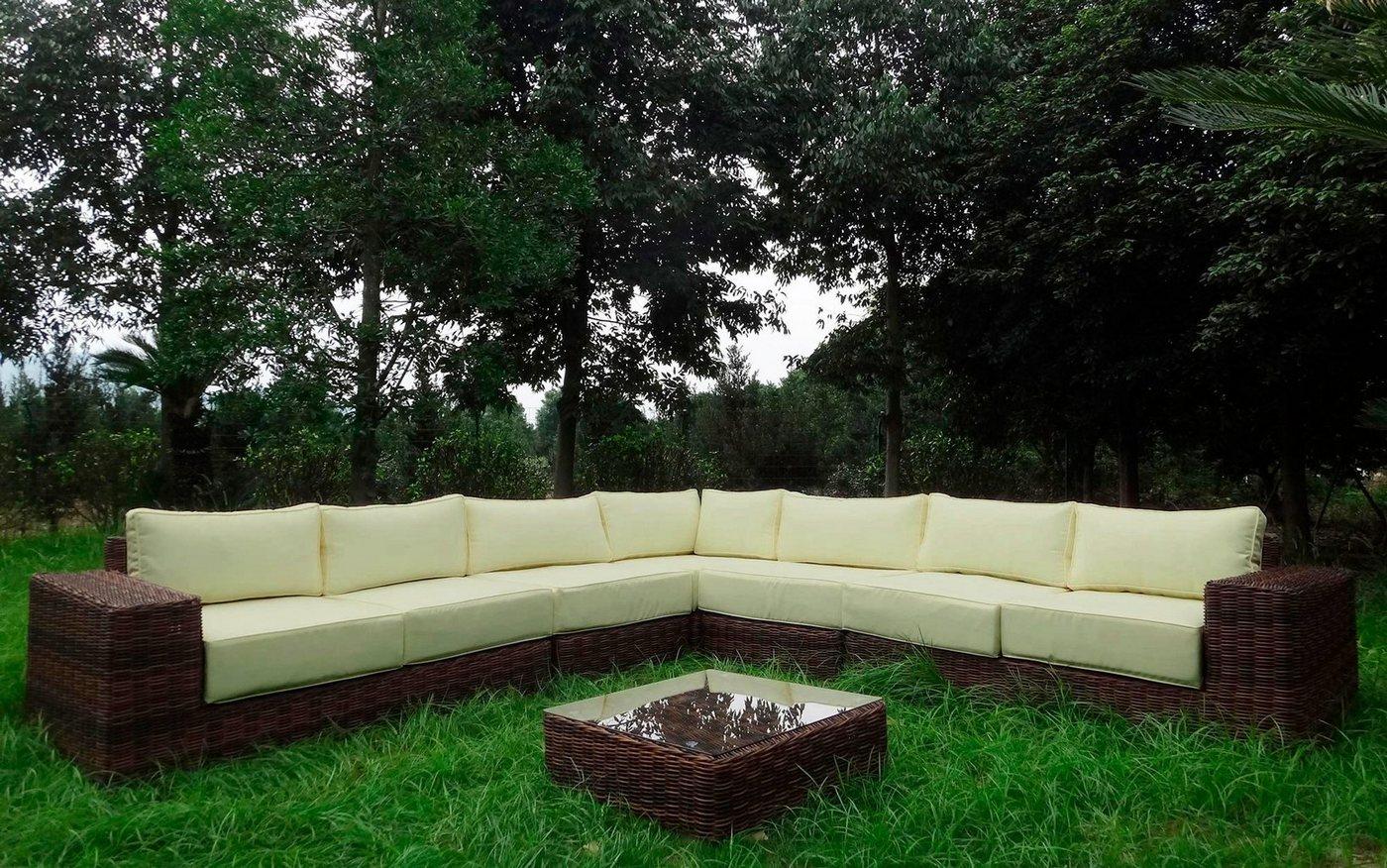 BAIDANI Loungeset »Sensation«, 20-tlg., Ecklounge, Tisch 67x67x40 cm, Polyrattan | Garten > Gartenmöbel > Gartenmöbel-Set | Braun | Baidani