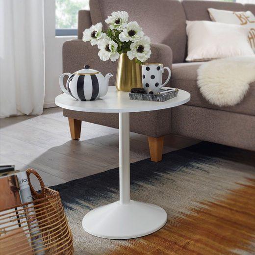 Wohnling Beistelltisch »WL5.984«, Design Weiß Holz Optik Rund Ø 48cm Kleiner Couchtisch Moderner Wohnzimmertisch Sofatisch