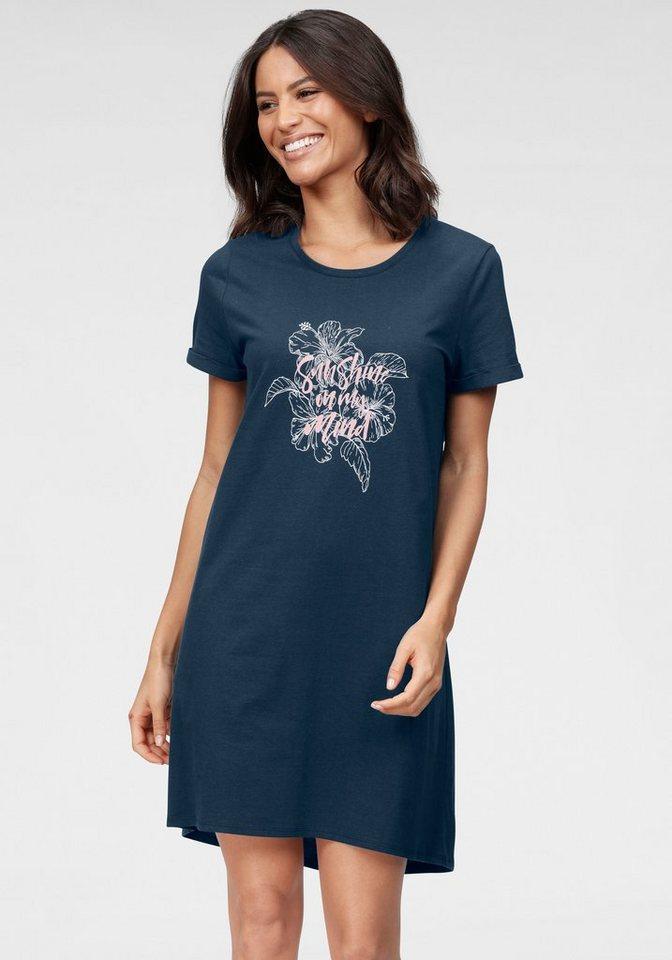 Damen Nachthemd kurzarm mit Frontprint und Herzmotiv 64239