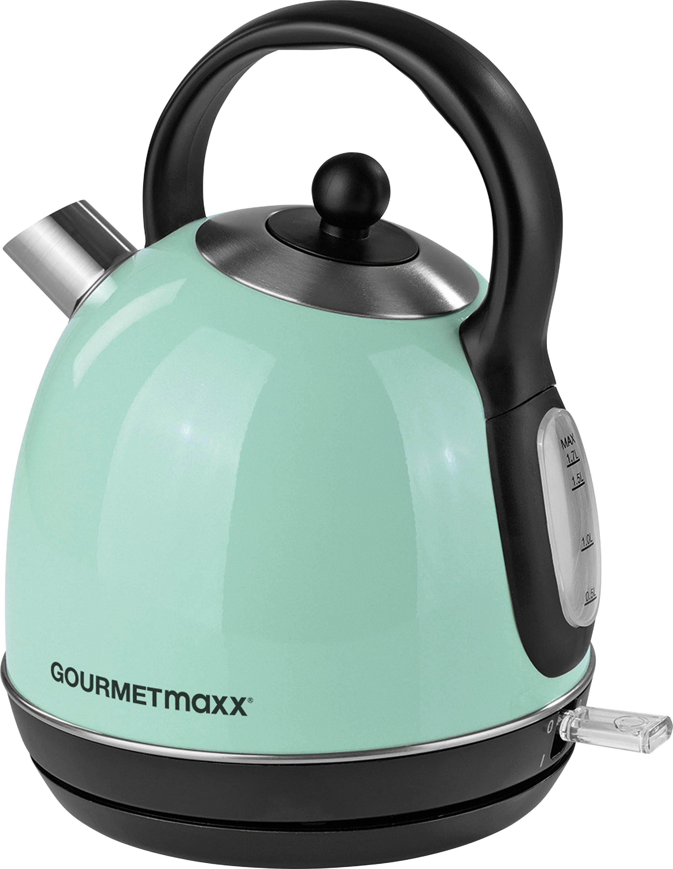 GOURMETmaxx Wasserkocher Retro 2200W - Mint, 1,7 l, 2200 W
