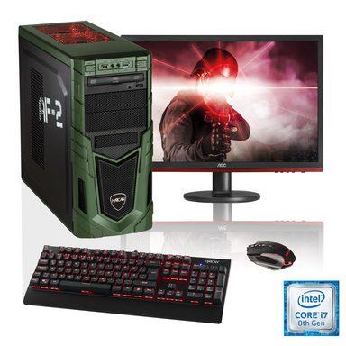 """HYRICAN i7-8700 16GB SSD + HDD GeForce® GTX 1070 + 24"""" Monitor »Military SET1607«"""