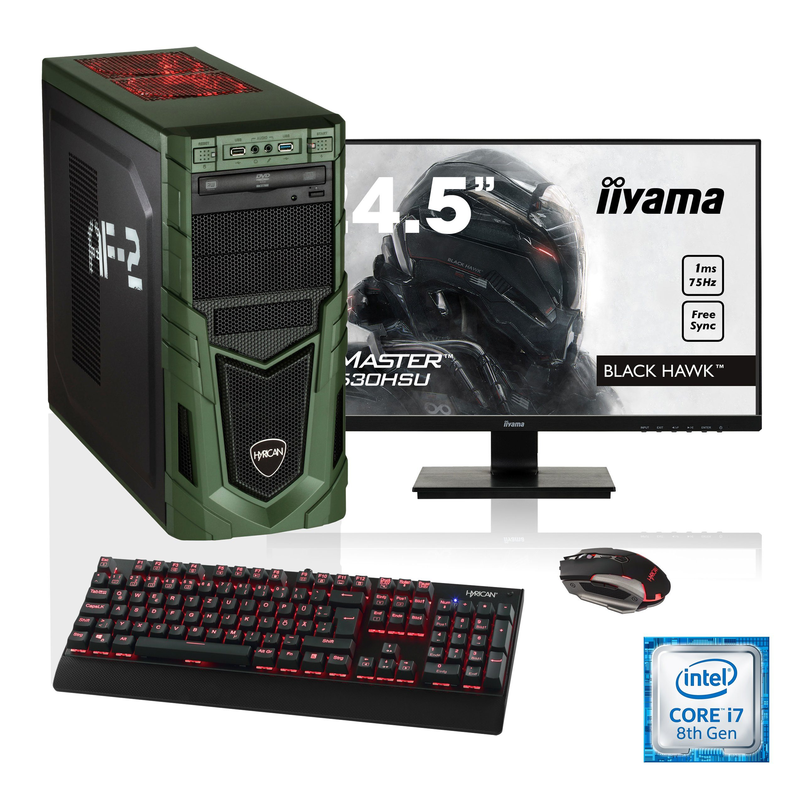 "HYRICAN i7-8700 16GB SSD + HDD GeForce® GTX 1070 + 24,5"" Monitor »Military SET1612«"