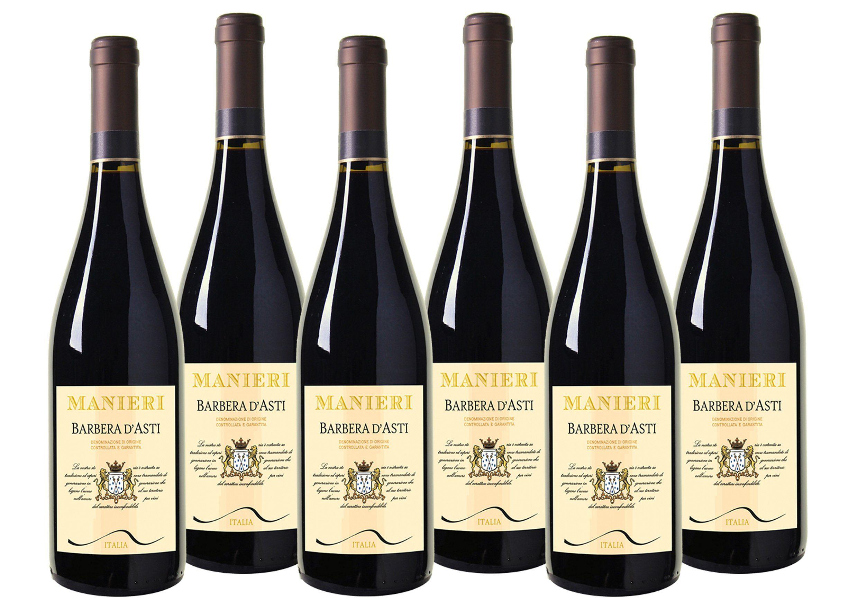 Rotwein aus Italien »13,5% 6 x 0,75 Liter - Manieri Barbera d'Asti 2016«