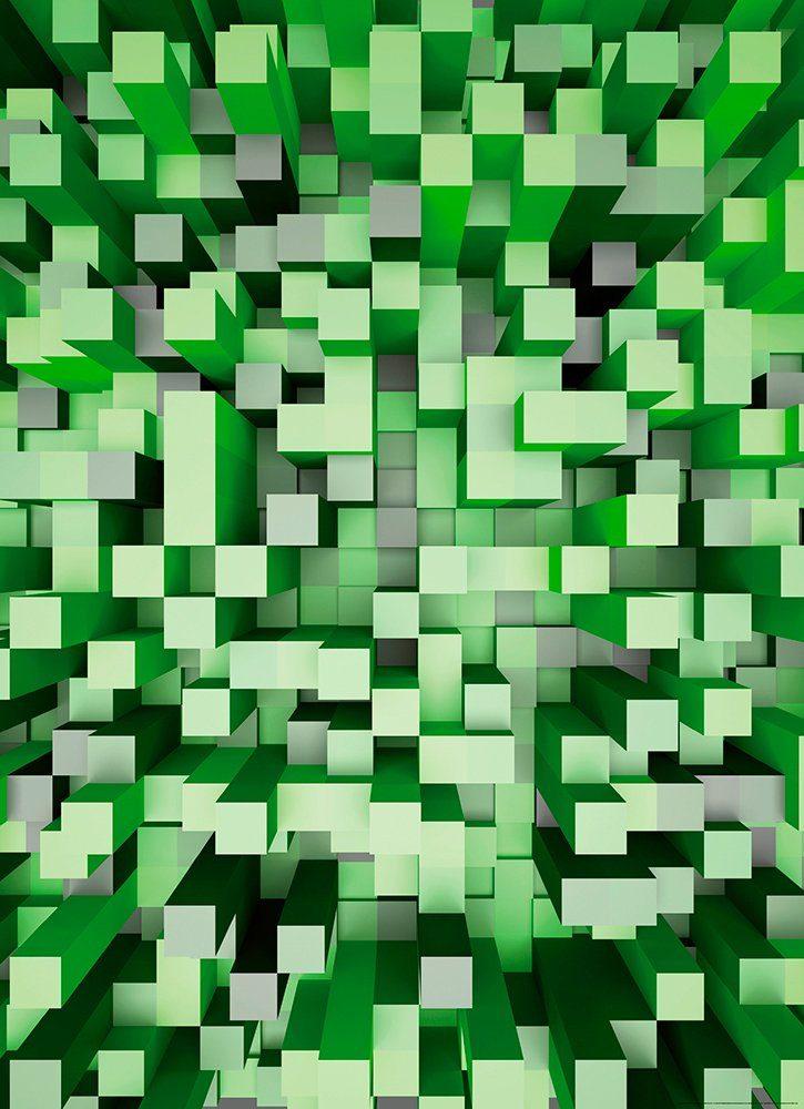 IDEALDECOR Fototapete »3D Quadrate grün«, BlueBack, 2 Bahnen, 183 x 254 cm