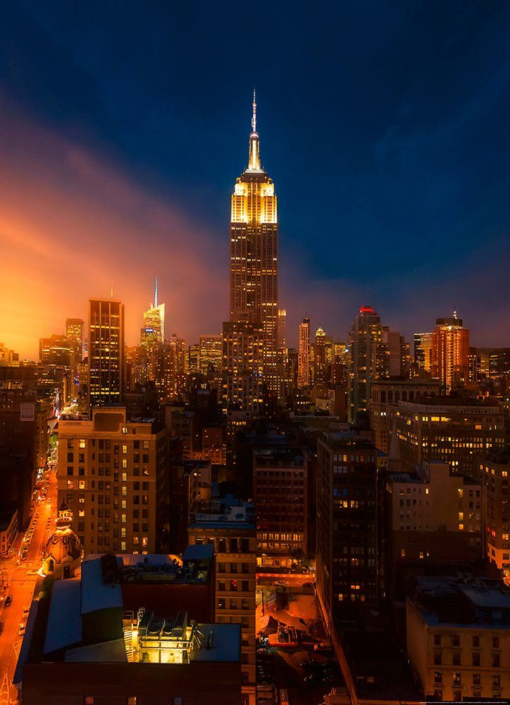 IDEALDECOR Fototapete »Empire State Building New York«, BlueBack, 2 Bahnen, 183 x 254 cm