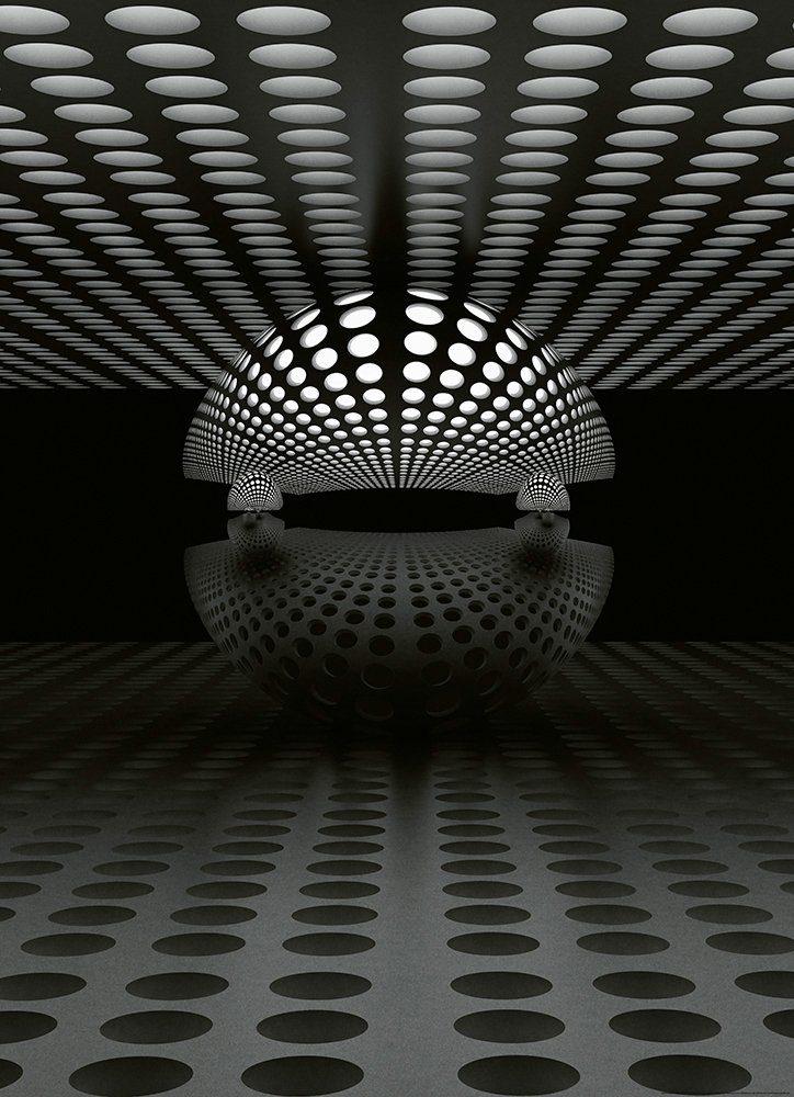 IDEALDECOR Fototapete »3D Kugel Silber«, BlueBack, 2 Bahnen, 183 x 254 cm
