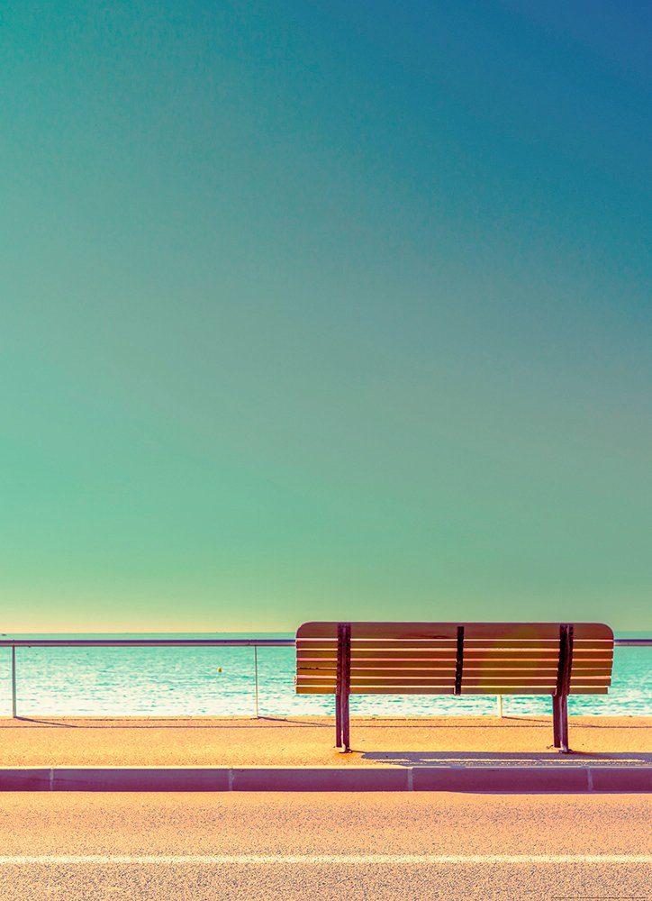 IDEALDECOR Fototapete »Bank Meer«, Vlies, 2 Bahnen, 183 x 254 cm