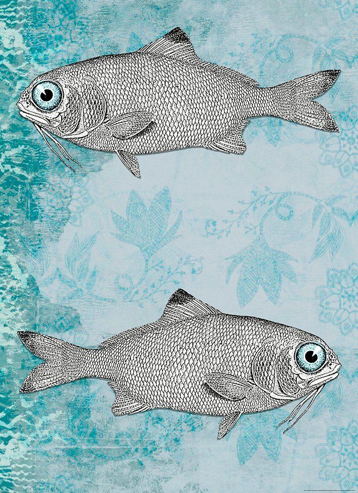 IDEALDECOR Fototapete »Vintage Fisch«, BlueBack, 2 Bahnen, 183 x 254 cm