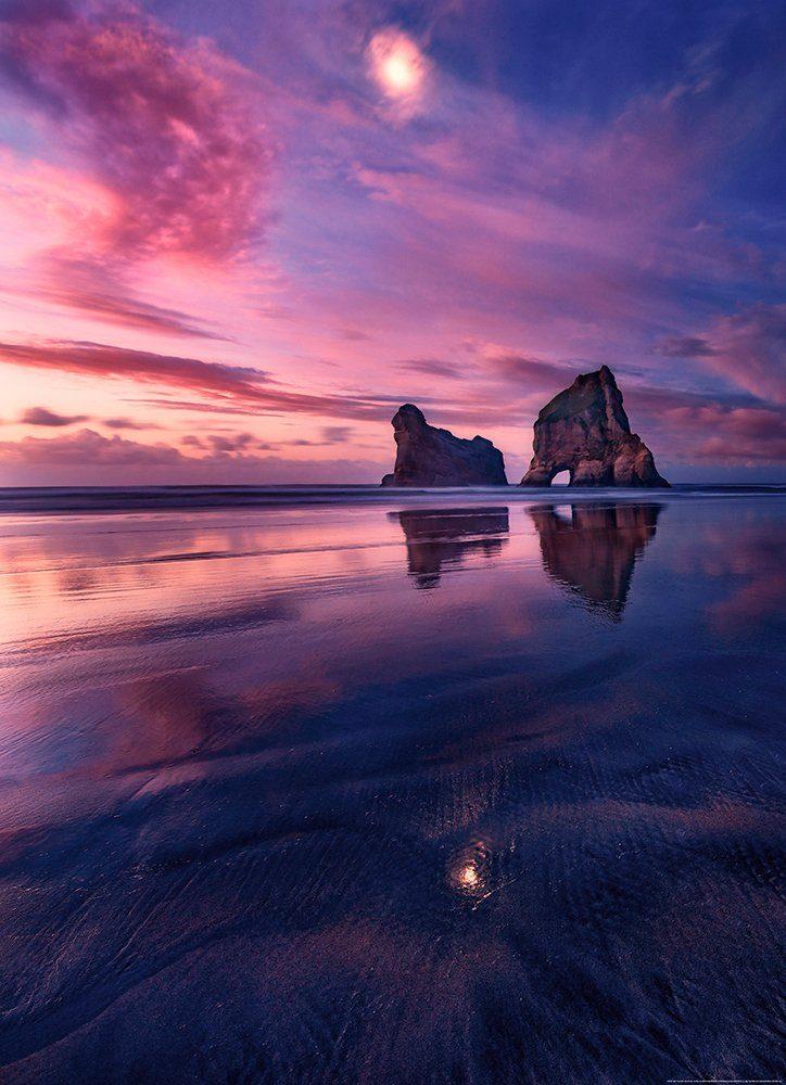 IDEALDECOR Fototapete »Bucht Sonnenuntergang«, Vlies, 2 Bahnen, 183 x 254 cm