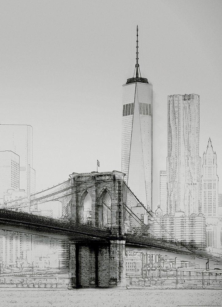 IDEALDECOR Fototapete »New York Art Illustration schwarzweiß«, BlueBack, 2 Bahnen, 183 x 254 cm
