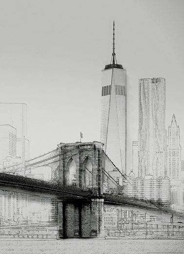 IDEALDECOR Fototapete »New York Art Illustration schwarzweiß«, BlueBack, 2 Bahnen, 183 x 254 cm