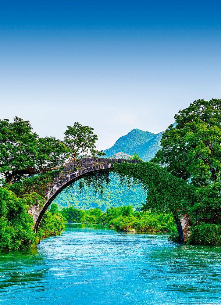 IDEALDECOR Fototapete »Brücke China«, BlueBack, 2 Bahnen, 183 x 254 cm