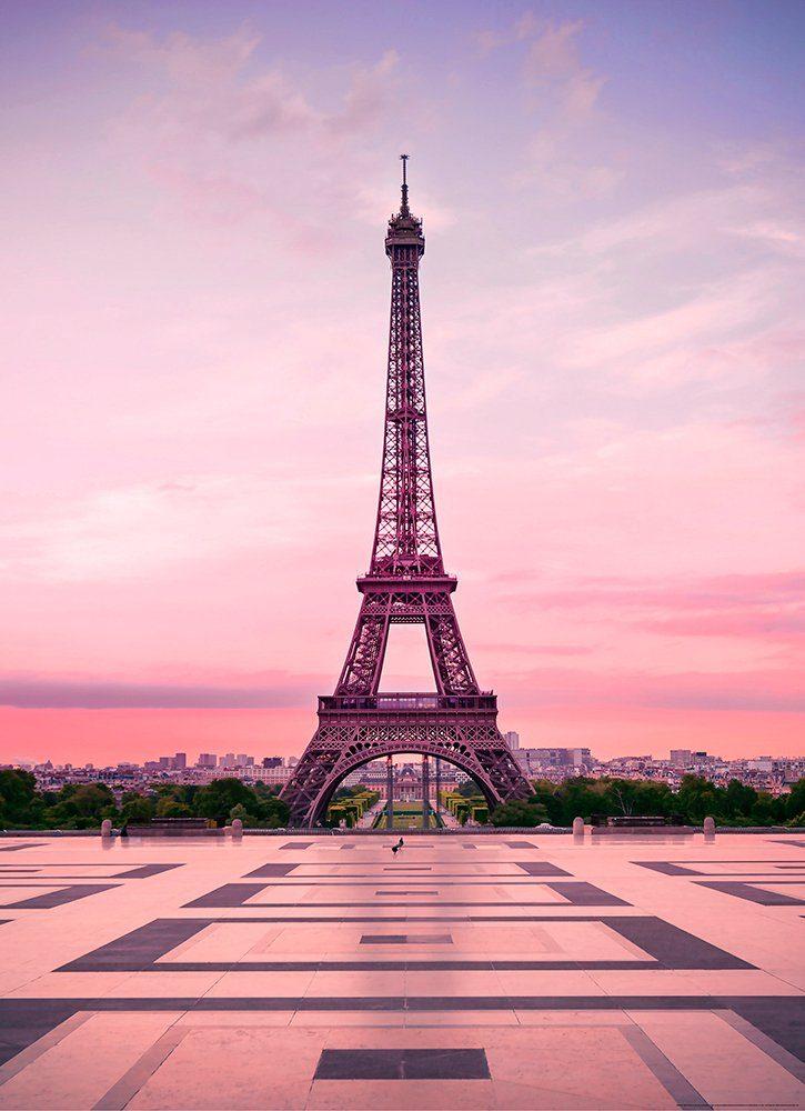 IDEALDECOR Fototapete »Eiffelturm Sonnenuntergang«, BlueBack, 2 Bahnen, 183 x 254 cm