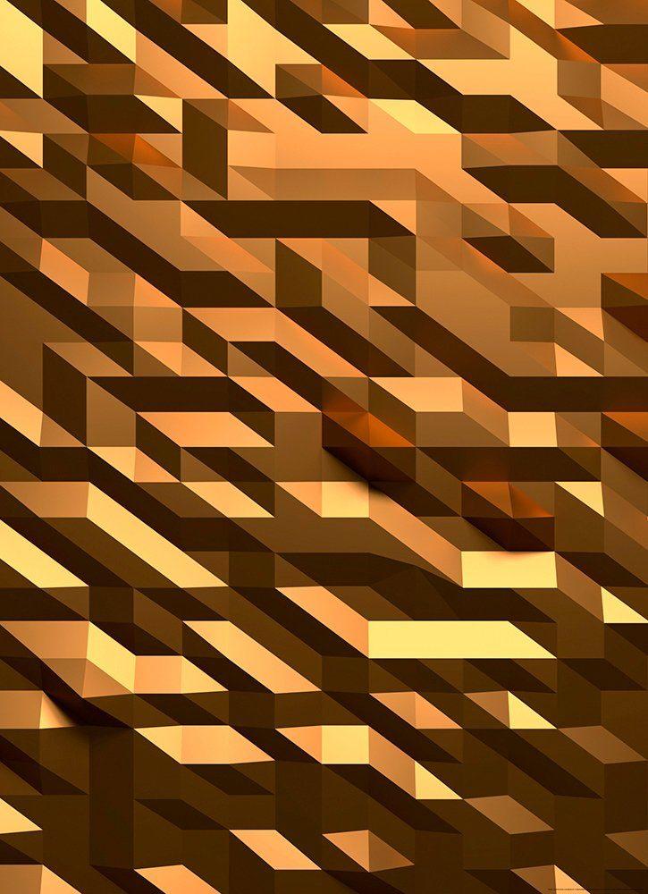 IDEALDECOR Fototapete »3D Kristall Gold«, Vlies, 2 Bahnen, 183 x 254 cm