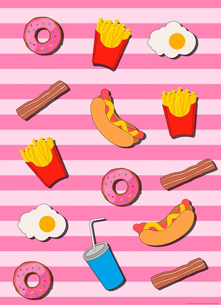 IDEALDECOR Fototapete »Fast Food Küche Pink«, Vlies, 2 Bahnen, 183 x 254 cm