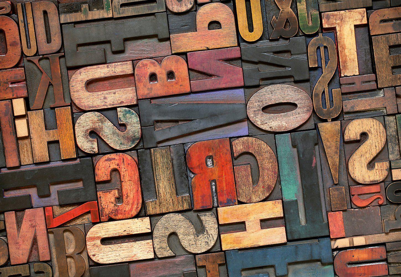 IDEALDECOR Fototapete »Vintage Briefe«, BlueBack, 4 Bahnen, 368 x 254 cm