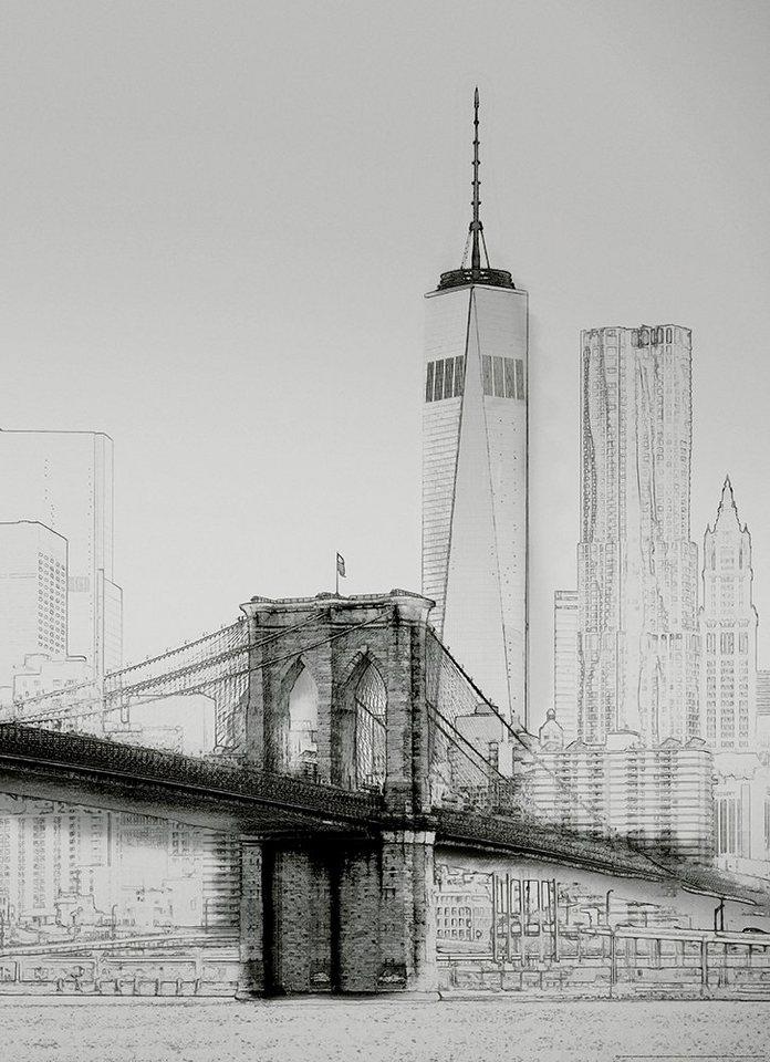 Idealdecor Fototapete New York Art Illustration Schwarzweiß Vlies 2 Bahnen 183 X 254 Cm Online Kaufen Otto
