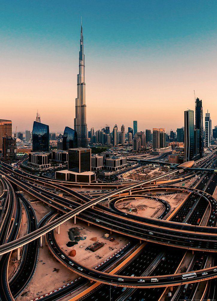 IDEALDECOR Fototapete »Dubai Vereinigte Arabische Emirate«, Vlies, 2 Bahnen, 183 x 254 cm
