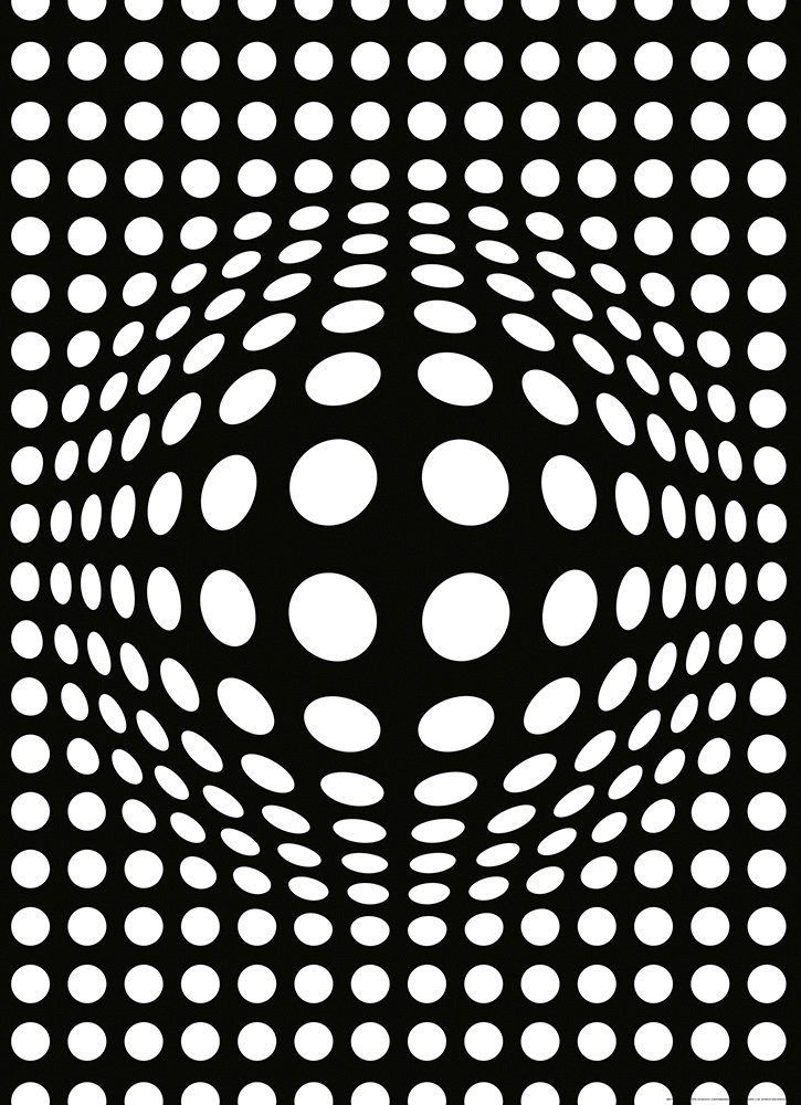 IDEALDECOR Fototapete »Punkte schwarzweiß invertiert«, Vlies, 2 Bahnen, 183 x 254 cm