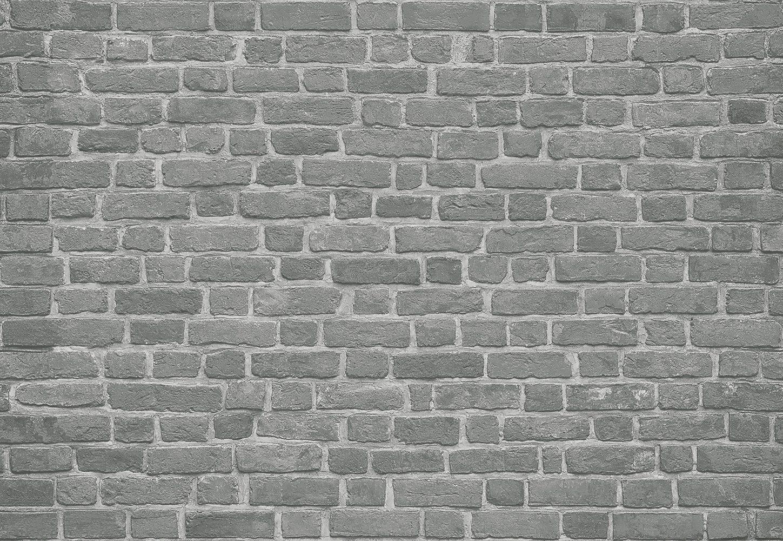 IDEALDECOR Fototapete »Backsteinmauer Schwarz«, BlueBack, 4 Bahnen, 368 x 254 cm