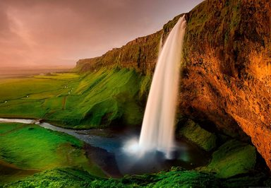 IDEALDECOR Fototapete »Wasserfall Island«, BlueBack, 4 Bahnen, 368 x 254 cm