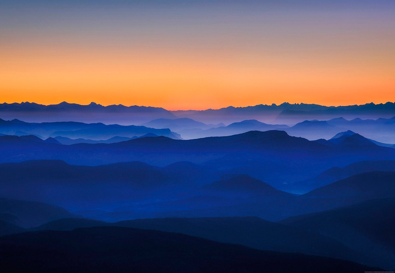 IDEALDECOR Fototapete »Berge«, BlueBack, 4 Bahnen, 368 x 254 cm