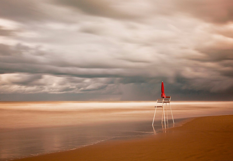 IDEALDECOR Fototapete »Stuhl Strand«, BlueBack, 4 Bahnen, 368 x 254 cm