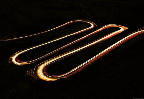 IDEALDECOR Fototapete »Lichtstreifen«, BlueBack, 4 Bahnen, 368 x 254 cm