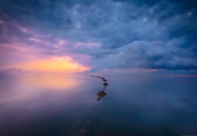 IDEALDECOR Fototapete »Meer, Wolken Sonnenaufgang«, BlueBack, 4 Bahnen, 368 x 254 cm