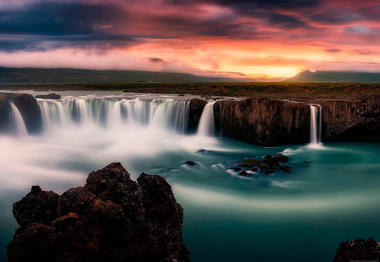 IDEALDECOR Fototapete »Seidige Wasserfälle«, BlueBack, 4 Bahnen, 368 x 254 cm