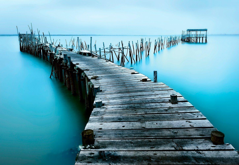 IDEALDECOR Fototapete »Alter Steg aus Holz«, BlueBack, 4 Bahnen, 368 x 254 cm