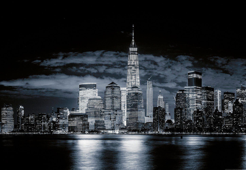 IDEALDECOR Fototapete »Skyline von Manhattan«, BlueBack, 4 Bahnen, 368 x 254 cm
