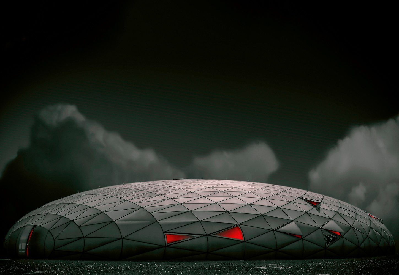 IDEALDECOR Fototapete »Architektur Hangar«, BlueBack, 4 Bahnen, 368 x 254 cm