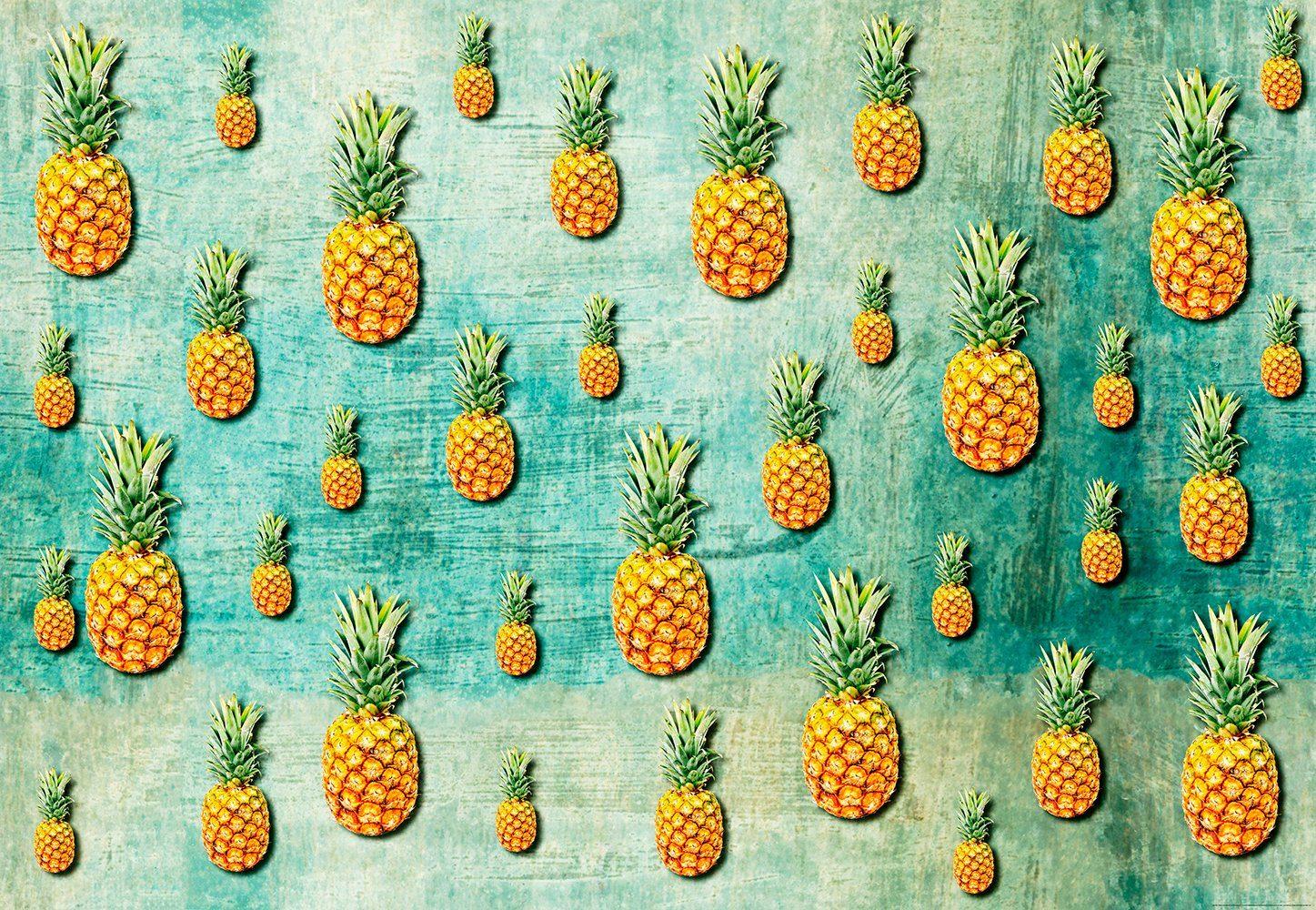 IDEALDECOR Fototapete »Tropische Ananas«, BlueBack, 4 Bahnen, 368 x 254 cm