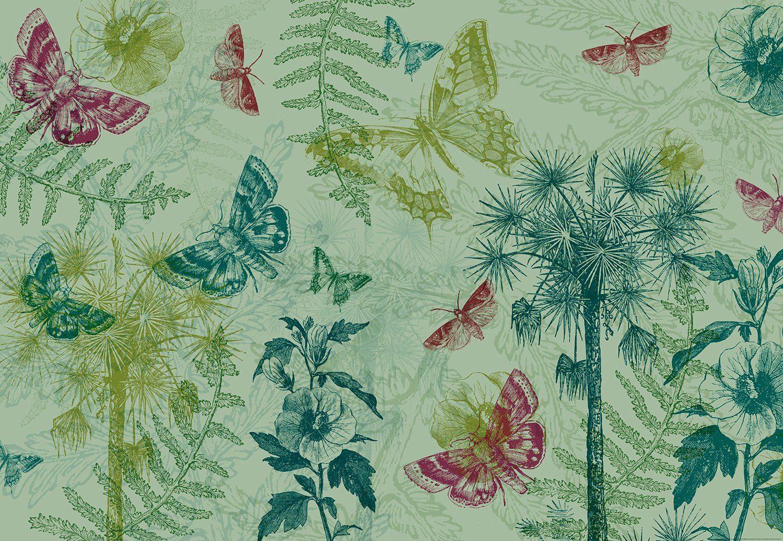 IDEALDECOR Fototapete »Collage Schmetterlinge Pflanzen«, Vlies, 4 Bahnen, 368 x 254 cm
