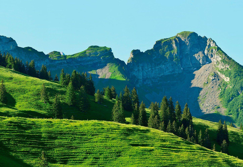 IDEALDECOR Fototapete »Schweizer Berge Gstaad I«, Vlies, 4 Bahnen, 368 x 254 cm
