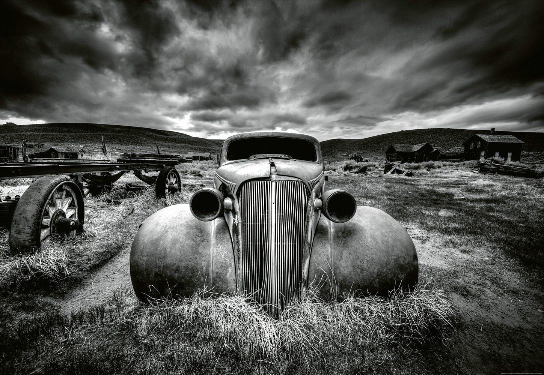 IDEALDECOR Fototapete »Altes klassisches Auto«, Vlies, 4 Bahnen, 368 x 254 cm