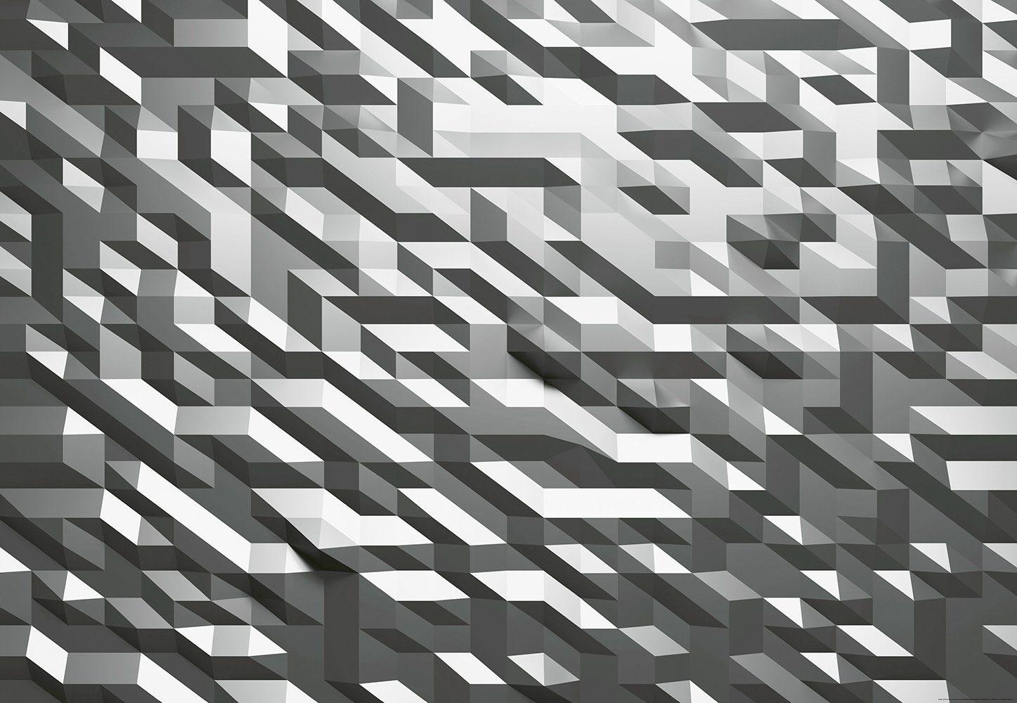 IDEALDECOR Fototapete »3D-Kristall Silber«, BlueBack, 4 Bahnen, 368 x 254 cm