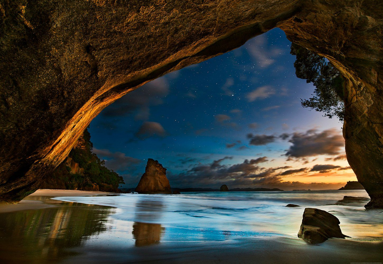 IDEALDECOR Fototapete »Cathedral Cove Neuseeland«, BlueBack, 4 Bahnen, 368 x 254 cm