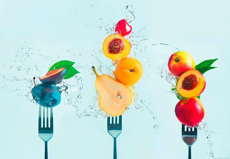 IDEALDECOR Fototapete »Früchte«, BlueBack, 4 Bahnen, 368 x 254 cm