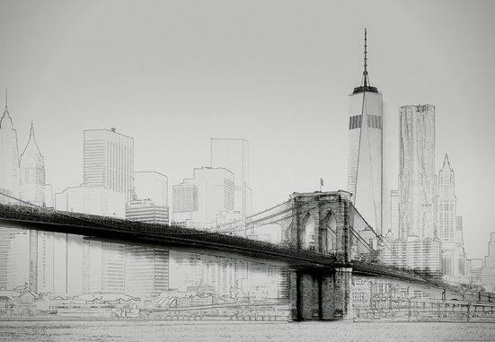 IDEALDECOR Fototapete »New York Art Illustration schwarzweiß«, BlueBack, 4 Bahnen, 368 x 254 cm