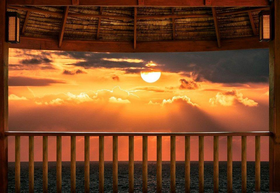 IDEALDECOR Fototapete »Meerblick Terrasse Sonnenuntergang«, Vlies, 4  Bahnen, 368 x 254 cm online kaufen   OTTO