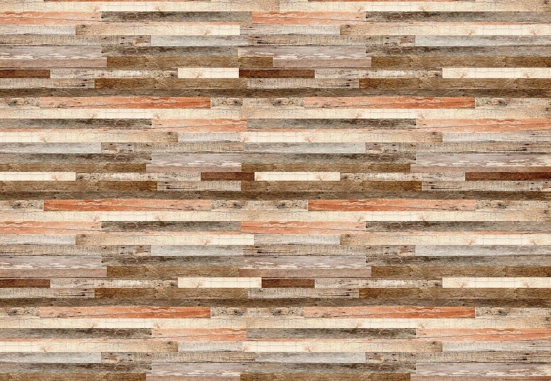 IDEALDECOR Fototapete »Holzwand Roter Farbton«, Vlies, 4 Bahnen, 368 x 254 cm