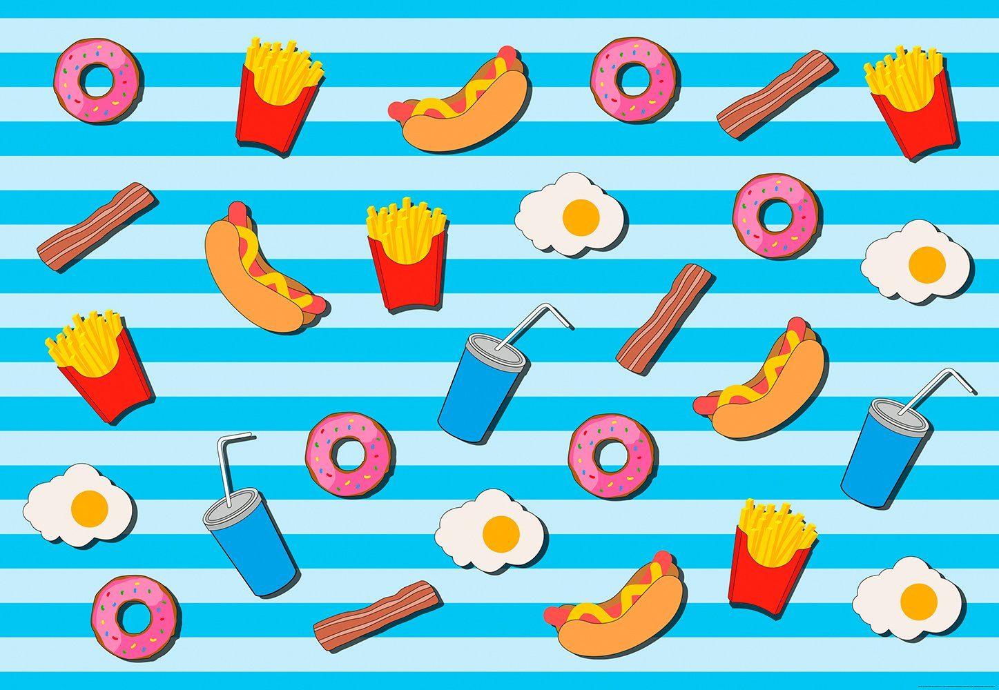 IDEALDECOR Fototapete »Fast Food Küche Blau«, BlueBack, 4 Bahnen, 368 x 254 cm